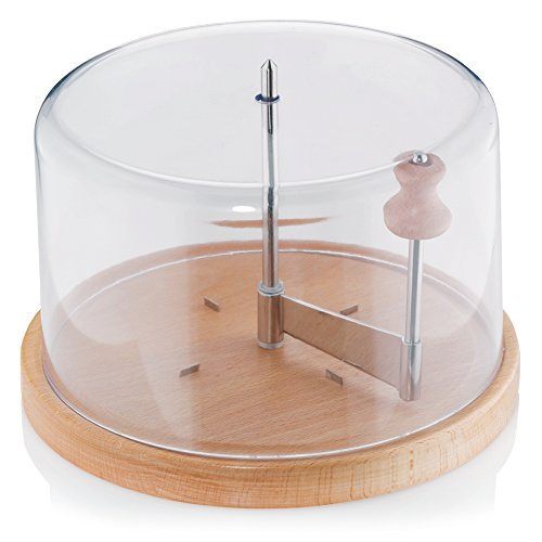 Kela 77080 Käsehobel mit Haube, Buche/ Edelstahl/Kunststoff, 22 cm Durchmesser, 16 cm Höhe, Planum