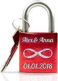 ABUS personalisiertes Liebesschloss mit Gravur und Schlüssel wahlweise mit Geschenkverpackung/Liebesschloss Gravur/ideales Hochzeitsgeschenk/Herzschloss rot