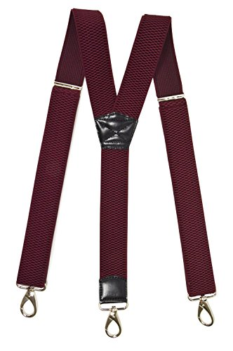 Olata Unisex Bretelle regolabili, Extra Forte Y-Forma con Carabiner Clip, 4cm larghezza - Rosso Bordeaux