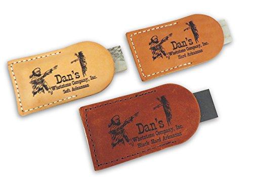 "Bundle- 3 Piece Set of Genuine Arkansas Pocket Knife Sharpening Stones Whetstones 3"" x 1"" x 1/4"" in Leather Pouches- Soft (Medium), Hard (Fine) and Black (Ultra Fine) MAP-13A-L/FAP-13A-L/BAP-13A-L"