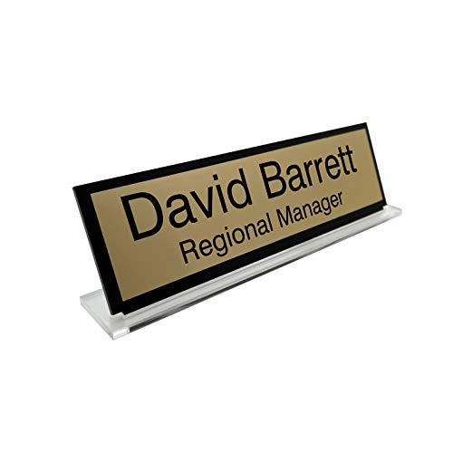 Badgemaster Premium Gold Custom Personalised Office Home Desk Name Plaque Acrylic Black