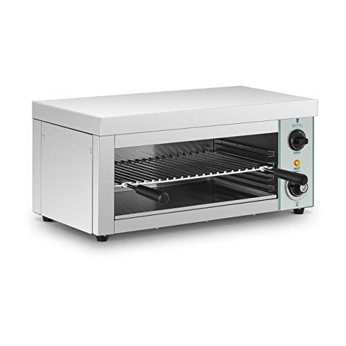 Royal Catering Salamander Grill Überbackgerät (230 V, 2000 W, E.G.O. Thermostat 50–250 °C, Auffangbehälter, Timer, Grillrost, Edelstahl)