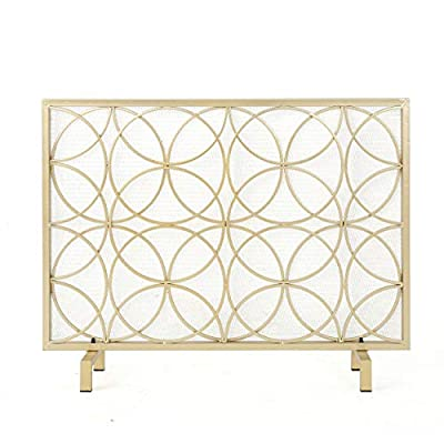 Christopher Knight Home Valeno Single Panel Iron Fireplace Screen, Gold by GDF Studio
