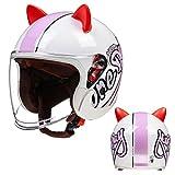Cat Ear Helmet, Vintage 3/4 Motorcycle Helmet, Open Face Style Helmet for Men Women, Retro Half Helmet with Double Visor, Adult Jet Pilot Helmet for Moped Vespa Cruiser, DOT/ECE Approved