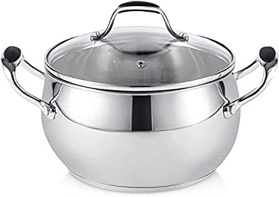 ELITRA Stainless Steel Casserole Pot with Glass Lid For All Stovetops 3 QT - Silver