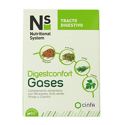 NUTRITIONAL SYSTEM Digestconfort Gases, 60 comprimidos, Blanco (185133)