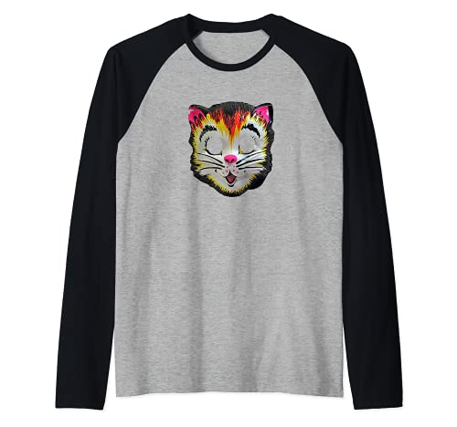 Disfraz de gato de Halloween Mscara de gatito lindo regalo divertido para nios Camiseta Manga Raglan