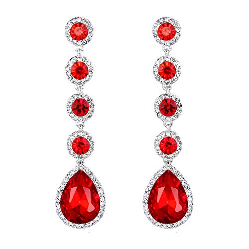 Clearine Orecchini Elegante Sposa Nuziale Cristallo perlina Lacrima lampadario Ciondolo Orecchini Rosso
