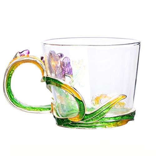 Grand motif en verre émaillé cristal transparent verre thé tasse à café tasse à café voyage poignée cadeau boîte 7,8 oz-1 pack cadeau (Couleur : Vert)