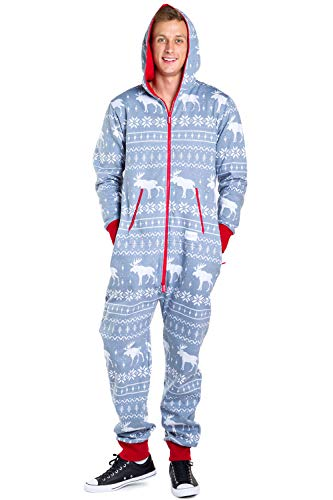 Men's Cozy Christmas Onesie Pajamas - Grey Moose Adult Holiday Cozy Jumpsuit: X-Large