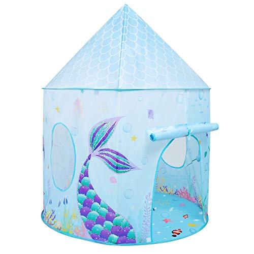 Spielzelt für Kinder - 105 x 135cm Meerjungfrau Spielzelte für Mädchen Unter dem Meer Prinzessin Schloss Spielhaus Faltbares Zelt für Drinnen und Draußen Klappzelt zum Geburtstag Weihnachten