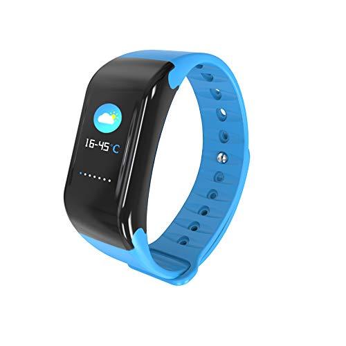 ZUKN Touch Screen Smart Bracelet, Fitness Trackers Activity Monitoraggio della frequenza cardiaca Impermeabile da remoto Fotografia Meteo Infos Spingendo Smartwatch,Blue