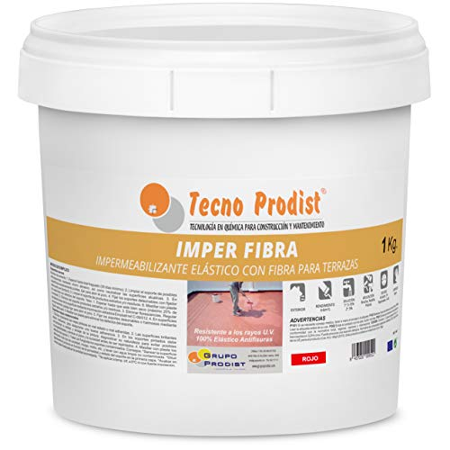 IMPER FIBRA de Tecno Prodist - 1 Kg (ROJO) Pintura Impermeabilizante elástica para Terrazas con Fibras Incorporadas - Buena Calidad - (A Rodillo o brocha, disponible en color rojo o blanco)