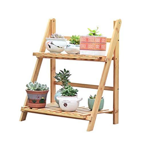 LYN-MEMORY Escalier pour Plantes, Pliant 2 rangées de Plantes en Bambou d'affichage de Support de Stockage d'échelle de Plateau de Fleur en Bambou for Le Jardin de Balcon