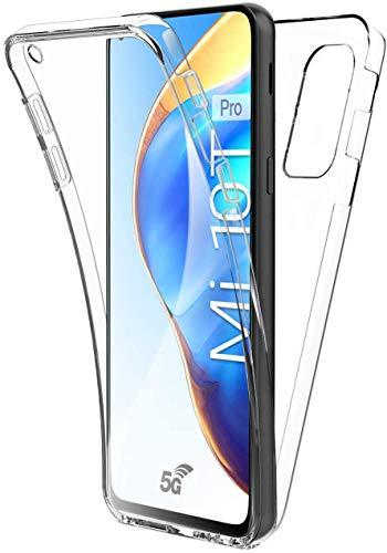 HülleNN Kompatibel mit Xiaomi Mi 10T 5G Hülle Mi 10T Pro Hülle 360 Grad Handyhülle Silikon PC Crystal Clear Full Body Slim Cover Transparent mit Bildschirmschutz Vorne & Hinten Schutzhülle Durchsichtige