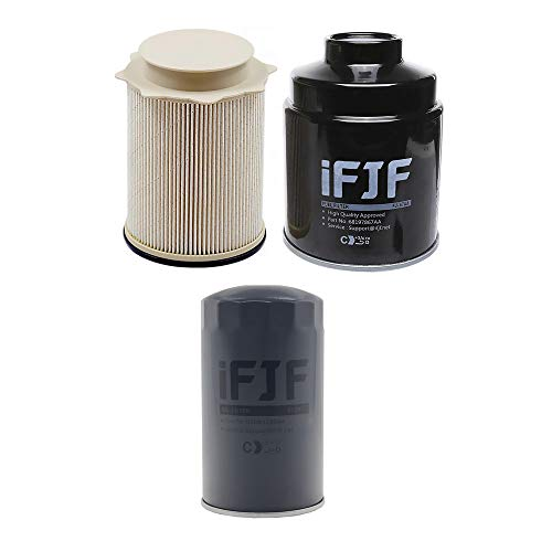 iFJF Fuel Filter Water Separator and Oil Filter Set Replacement for Dodge Ram 6.7L 2500 3500 4500 5500 6.7L Turbo Diesel Engines 68197867AA 68157291AA 5083285AA