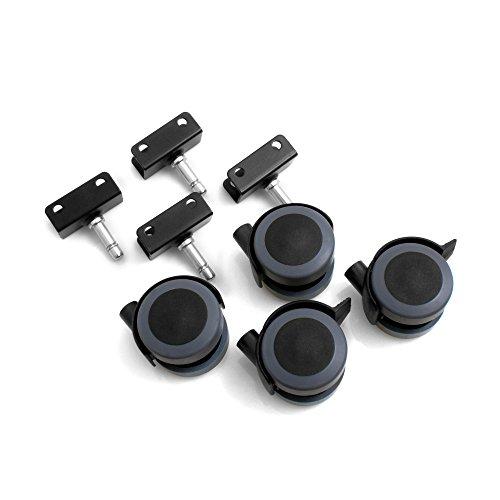 Design61 Möbelrollen mit U-Aufnahme für 22mm breite Platten Gummirollen Lenkrollen Laufrollen Bodenschutz Rollen mit Feststeller Plattenschuhe mit Stift (4 Stück)