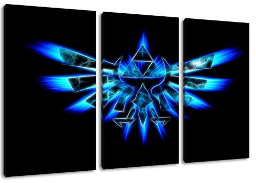 Dream-Arts Dark Hyrule Emblem, Zelda Motiv, 3-teilig auf Leinwand (Gesamtformat: 120x80 cm), Hochwertiger Kunstdruck als Wandbild. Billiger als ein Ölbild! ACHTUNG KEIN Poster oder Plakat!