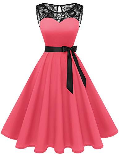 bbonlinedress 1950er Ärmellos Vintage Retro Spitzenkleid Rundhals Abendkleid Coral L