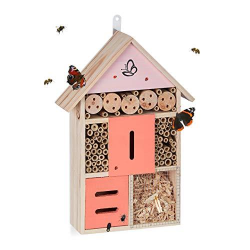 Relaxdays Insektenhotel, Nisthilfe Wildbienen & Käfer, Garten, Balkon, Bienenhotel zum Aufhängen, HBT 40x28x9 cm, Natur