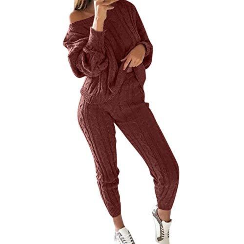 Longra 2PCS Ensembles Survêtement Femme Solide Épaules dénudées Leggings de Sport Sportswear Tricoté Vêtements de détente Costume Sport Yoga Gym Workout Combishort Jogging Costume