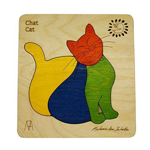 EKOPLAY's Wooden Puzzles for Kids, 4 Piece Jigsaw Puzzle for Pre-School Kids, Learning Educational Toys Gifts for Boys Girls, Kids & Children. Animal Puzzles Sets, Chat Cat Age 3+ Years.
