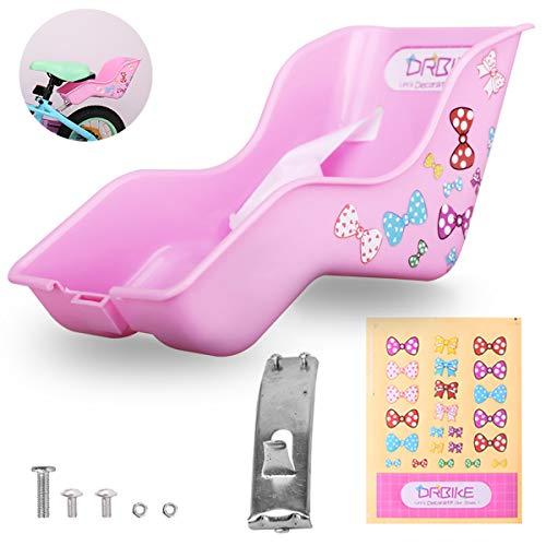 HILAND Puppen Fahrradsitz mit DIY Abziehbildern/Aufklebern für Mädchenfahrräder, Kinderfahrradzubehör, Puppenträger für Puppen in Standardgröße und Kuscheltiere, Pink & Lila