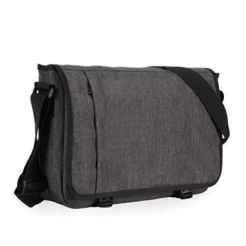 Veevan Casual Schultertasche Umhängetaschen Messenger Bag 15-Zoll (Dunkelgrau)