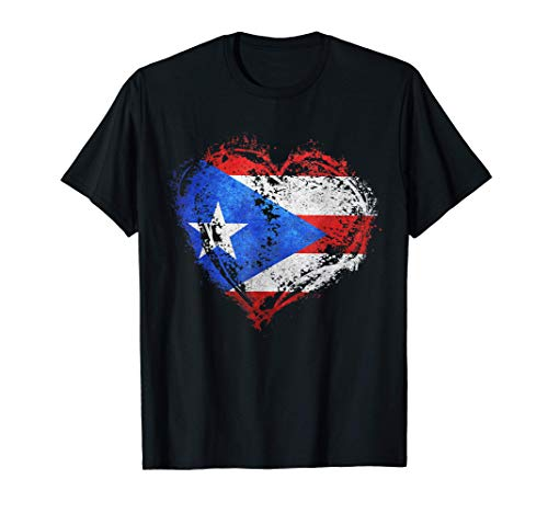 Puerto Rican Flag Vintage Puerto Rico Heart Valentines Day T-Shirt