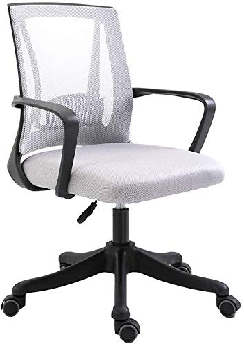 WYL Office Chair Computer Chair Adjustable Height Eronomic Office Desk Chair with Lumbar Support Mesh Excutive Council Chair for Office Meeting Room (Color : Gray, Size : Black frame)