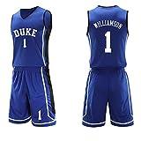 CBVB Hombre Ropa de Baloncesto Jersey Camiseta de Baloncesto da Bordado,Pelícanos Williamson No. 1,Universidad Duke, Top + Shorts 1 Set-Blue-XL
