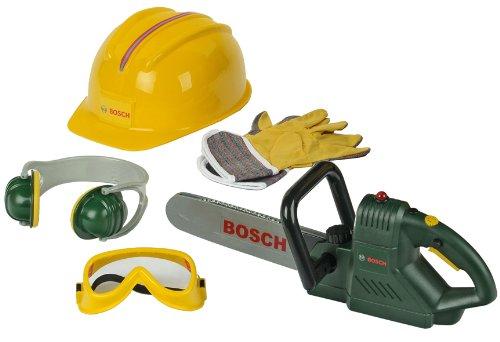 Theo Klein 8525 Sierra de cadena Bosch con accesorios, Con sonido de sierra y luz ,incluye guantes de trabajo, gafas de seguridad y mucho más, a partir de 3 años, 40 cm x 11 cm x 13 cm