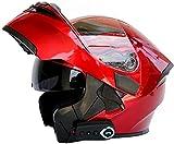 Egrus Bluetooth Integrado Modular Casco Moto Integral para Motocicleta, Personalidad Fresca Casco con Doble Visera, para Montar Al Aire Libre Apto para Cruceros Locomotora L=59~60CM