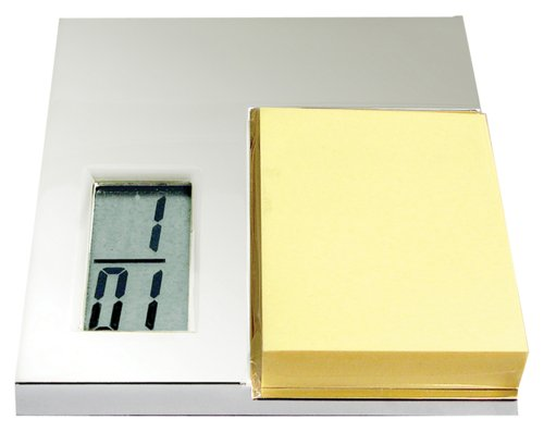 Natico Silver Post Holder Pad with LCD Clock (10-1326MP)