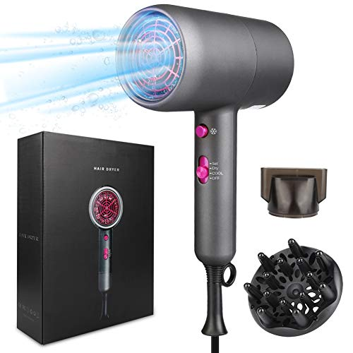 FEALING Ionen Fön Haartrockner 2000w Hair Dryer Braun föhn mit Diffusor und Stylingdüsen,3 Geschwindigkeiten Warm und Kühl Wind