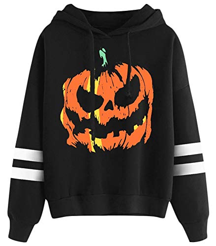 Halloween Hoodie Women's Pumpkin Graphic Striped Pullover Top Funny Long Sleeve Sweatshirt 2XL