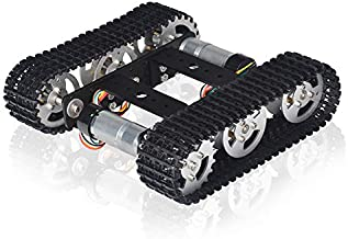Black Tracked Robot Smart Car Platform Aluminum Alloy Chassis with Dual DC 9V Motor for Arduino Raspberry Pi DIY (Assembled)