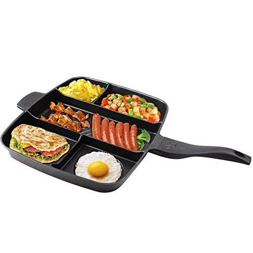 ZXL Keuken pot 15 inch antiaanbakpan 5 in 1 koekenpan aparte bakplaat, geschikt voor alles-in-één gekookt ontbijt pot bakken oven ontbijt kookgerei, 40-38-5CM
