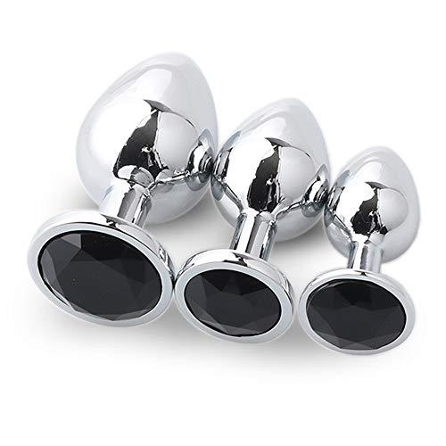 Fondo redondo negro Ànâl 3 piezas/juego de diamantes de cristal accesorios de piedras preciosas de metal colgante juego de masaje juguete Plûg