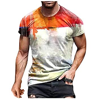 Mens Summer Clothes Casual Mens Fashion Hipster Cotton Short Sleeve Round 3D Print T Shirt Muscle Gym Workout Athletic Bodybuilding Hip Hop Baseball Tee Top T-Shirts