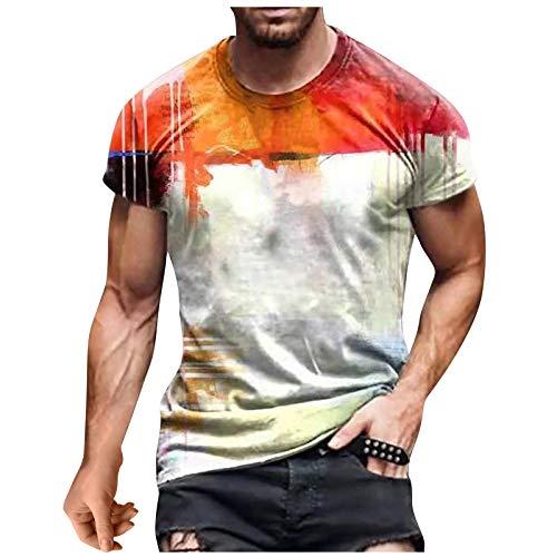 Camiseta para hombre de corte ajustado, cuello redondo, moda casual, impresión 3D, suave, estilo urbano, divertido estampado, cuello redondo. Blanco M