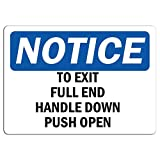 Notice - to Exit Pull Red Handle Down Push Open Sign | Label Decal Sticker Retail Store Sign Sticks to Any Surface 8'