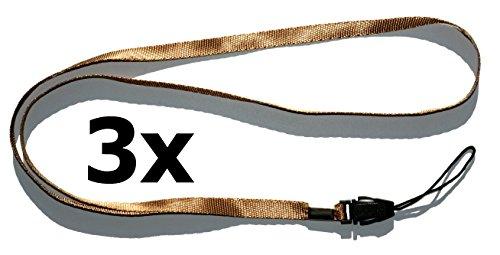 Collar Correa Correa Correa (3unidades color marrón) para pequeñas móviles, reproductor de mp3, llaves, DNI, memorias USB, silbato, brújula