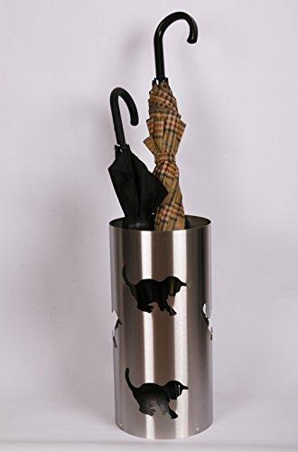 Regenschirmständer, Katze, 47 x Ø 22,5 cm, Edelstahl mattiert, Marke: Szagato, Made in Germany (Schirmständer, Schirmhalter, Regenschirmhalter gebürstet)