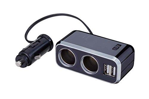 ナポレックス 車用 シガーソケット分配器 2連 USB端子2口 コードタイプ Fizz イルミソケットS2 USB 2.4A ブラック 12V車専用 通電モニター付 ヒューズ付10A(30mm) NAPOLEX Fizz-1012