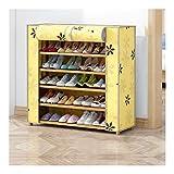 QIFFIY Rack de Zapatos de bambú de 6 Capas, gabinete de Zapatos de Gran Capacidad con Cubierta de Polvo, Estante de Moda de Zapatos 50 * 26 * 94cm (Opciones múltiples) (Color : 80 Length 6 Layers)