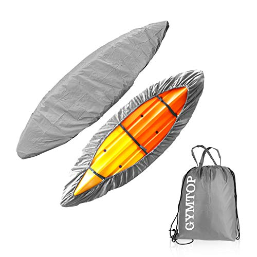 GYMTOP 7.8-18ft Waterproof Kayak Canoe Cover-Storage Dust Cover UV Protection Sunblock Shield for Fishing Boat/Kayak/Canoe 7 Sizes [Choose Color] (Gray(Upgraded), Suitable for 10.8-12ft Kayak)
