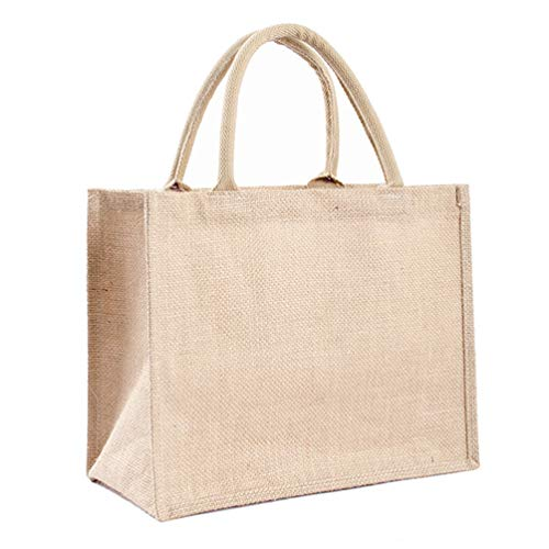 Reusable Jute Tote Bag Eco Friendly Burlap Grocery Bags for Shopping Beach Vacation Picnic