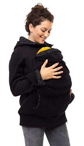Viva la Mama Schwangerschaftsmode Umstandsjacke Tragepullover warm Jacke für Tragetuch Tragepulli - AHOI schwarz, kleine Punkte - XXL