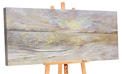 YS-Art Premium   Cuadro Pintado a Mano Amanecer en el mar   Cuadro Moderno acrilico   140 x 70 cm   Lienzo Pintado a Mano   Cuadros Dormitories   único   Beige Gris   PS028